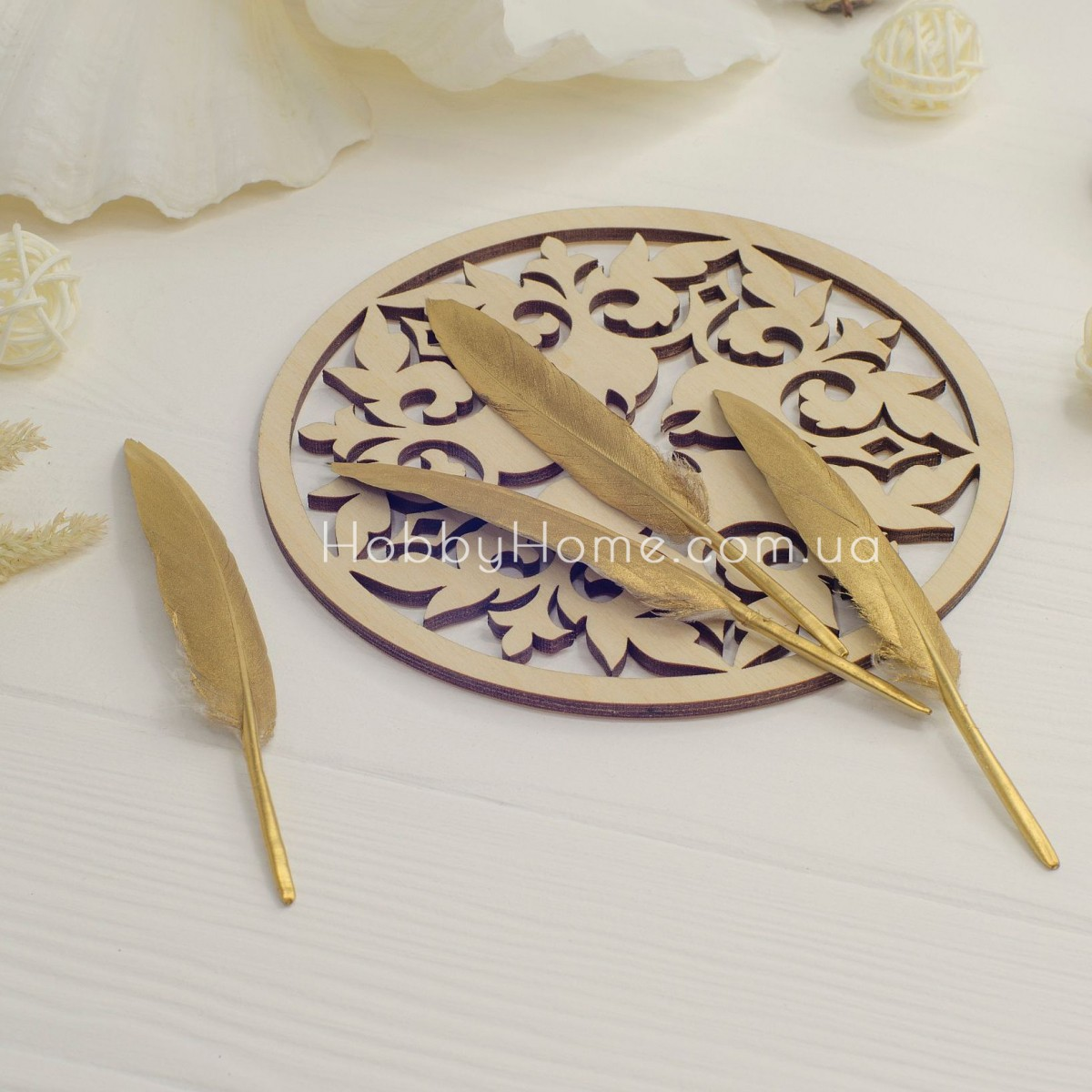 Гусяче перо 10-15см золото