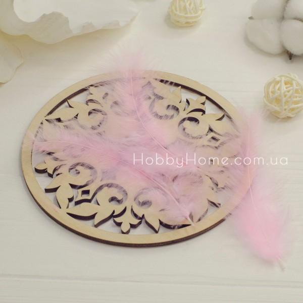 Перо пухнасте натуральне 10-15см ніжно рожеве