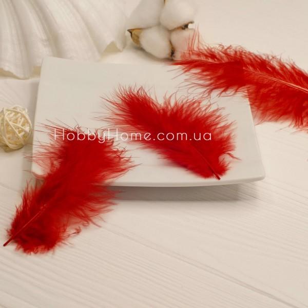 Перо пухнасте натуральне 10-15см червоне