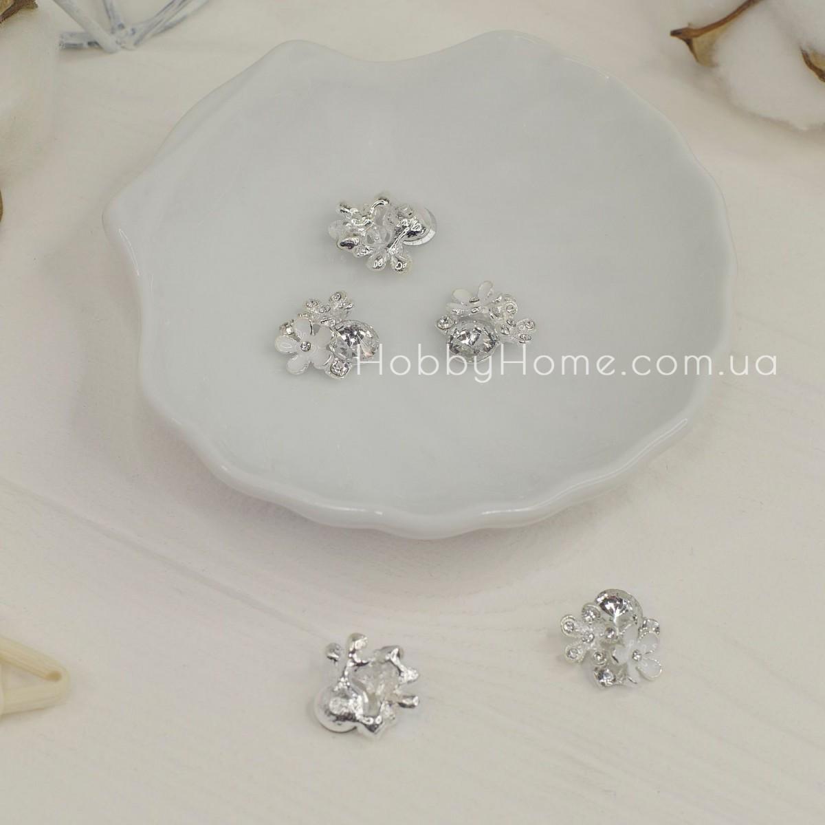 Серединка дві квіточки з каменем 18мм срібло