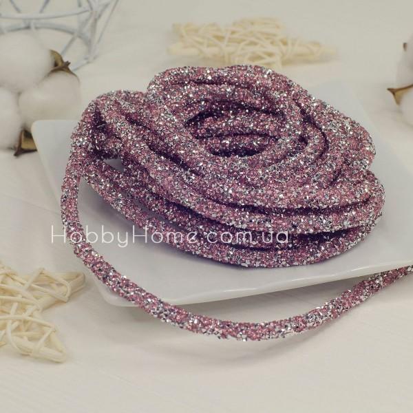 Стразова трубочка 50см , рожева зі сріблом