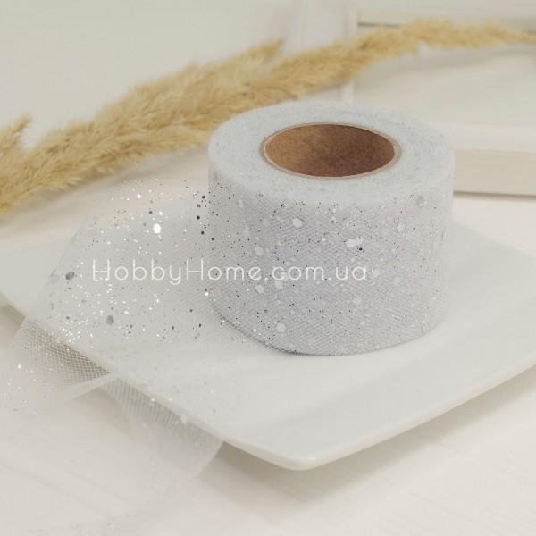 Фатин жорсткий з гліттером 5см білий