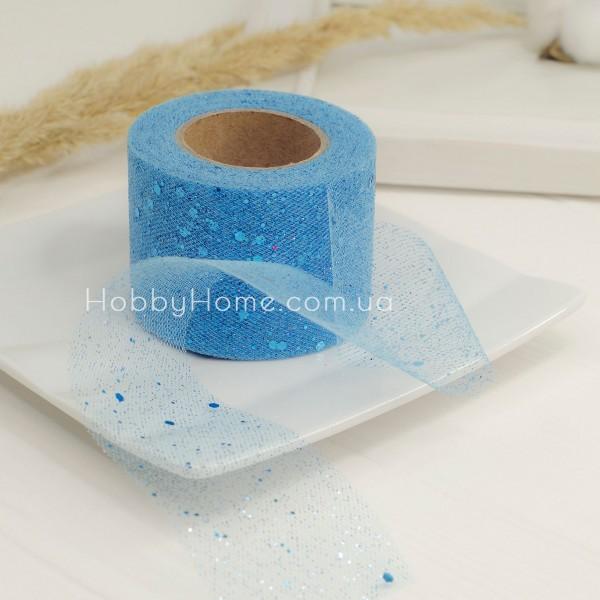 Фатин жорсткий з гліттером 5см блакитний