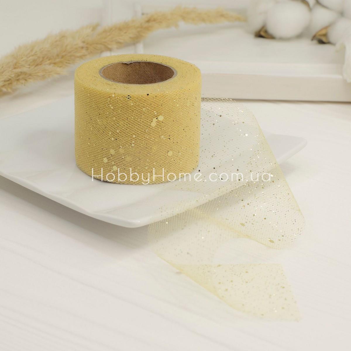Фатин жорсткий з гліттером 5см золото