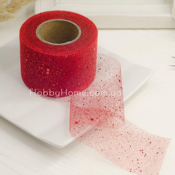Фатин жорсткий з гліттером 5см червоний