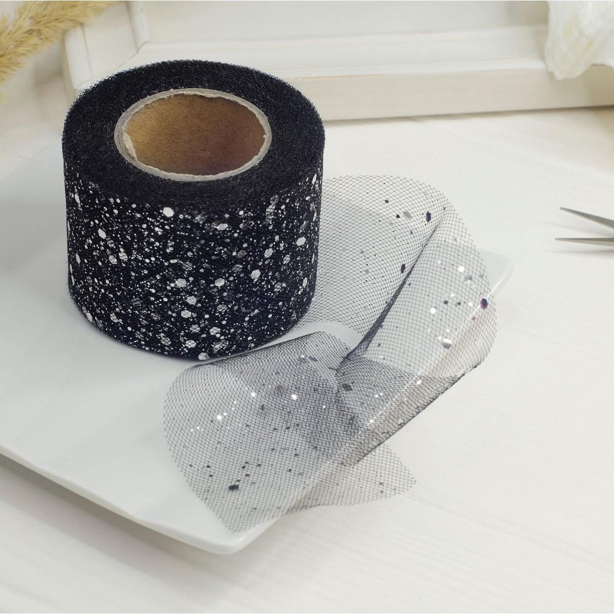 Фатин жорсткий з гліттером 5см чорне срібло