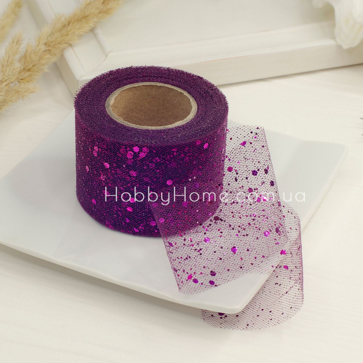 Фатин жорсткий з гліттером 5см фіолетовий