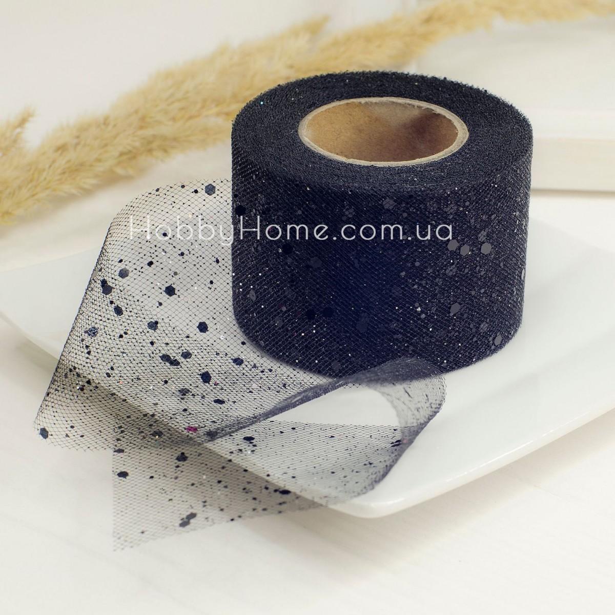 Фатин жорсткий з гліттером 5см чорний