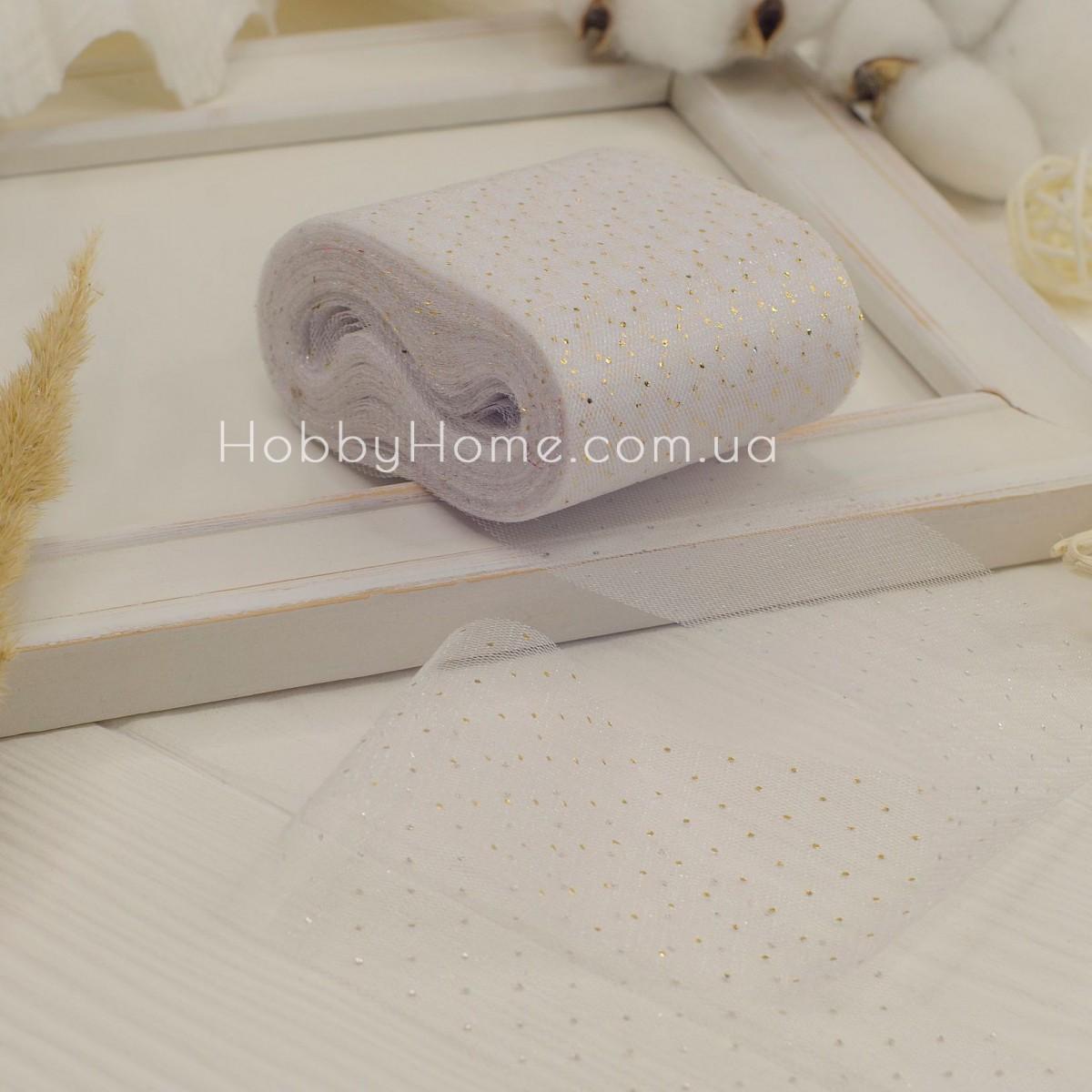 Фатин м'який Золотий горох 5,5см білий