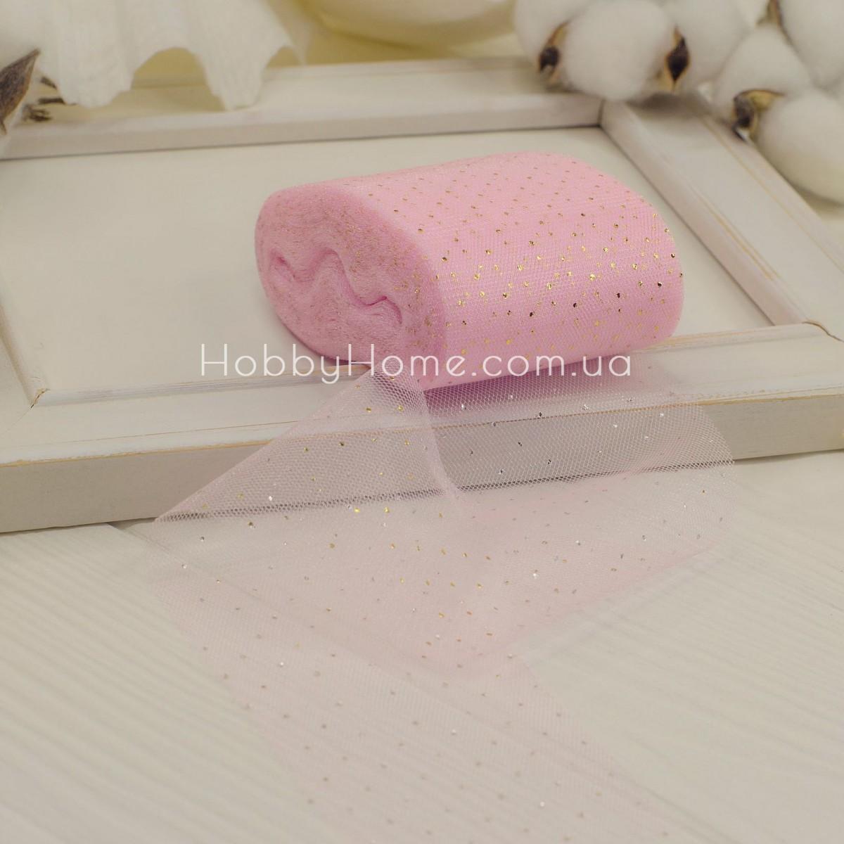 Фатин м'який Золотий горох 5,5см рожевий