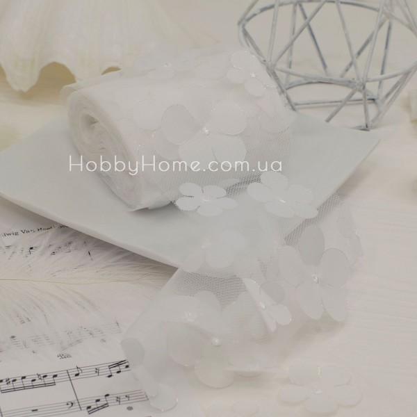 Фатин з об'ємними шифоновими квітами 50см , білий