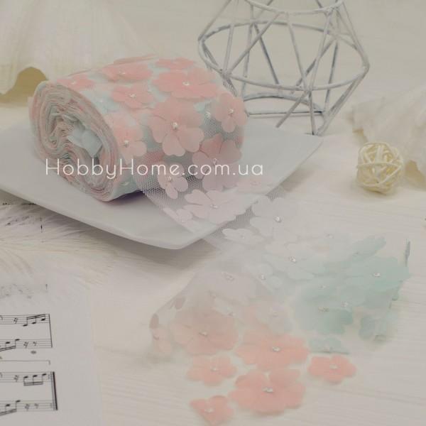 Фатин з об'ємними шифоновими квітами 50см , персиковий градієнт