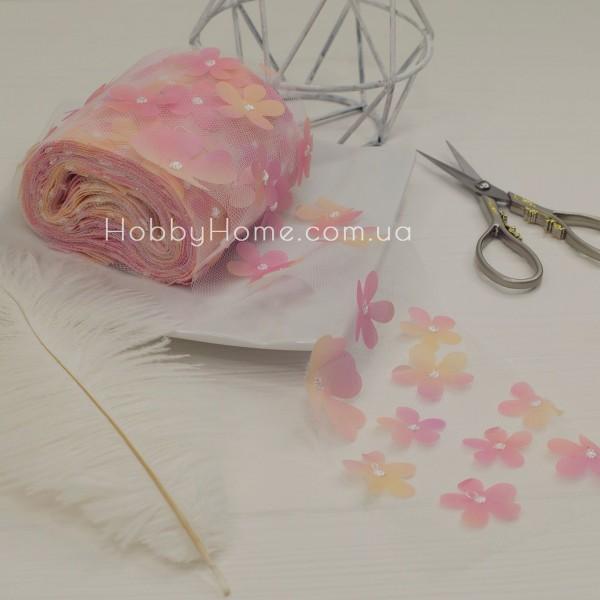 Фатин з об'ємними шифоновими квітами 50см , рожевий градієнт