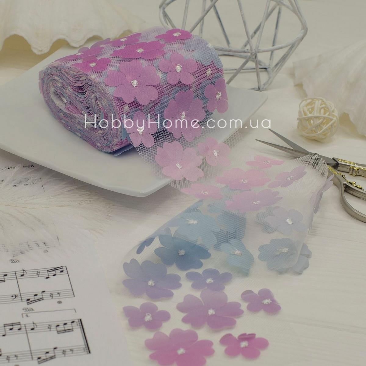 Фатин з об'ємними шифоновими квітами 50см , бузковий градієнт
