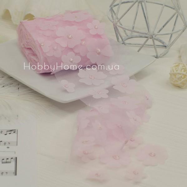 Фатин з об'ємними шифоновими квітами 50см , рожевий