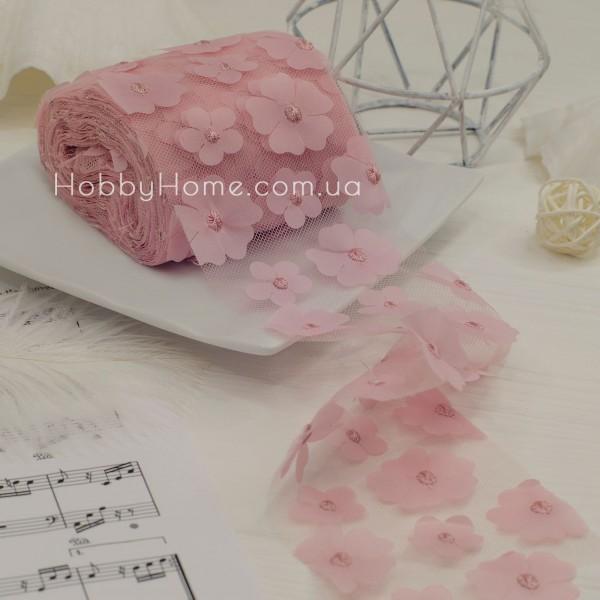 Фатин з об'ємними шифоновими квітами 50см , пудра