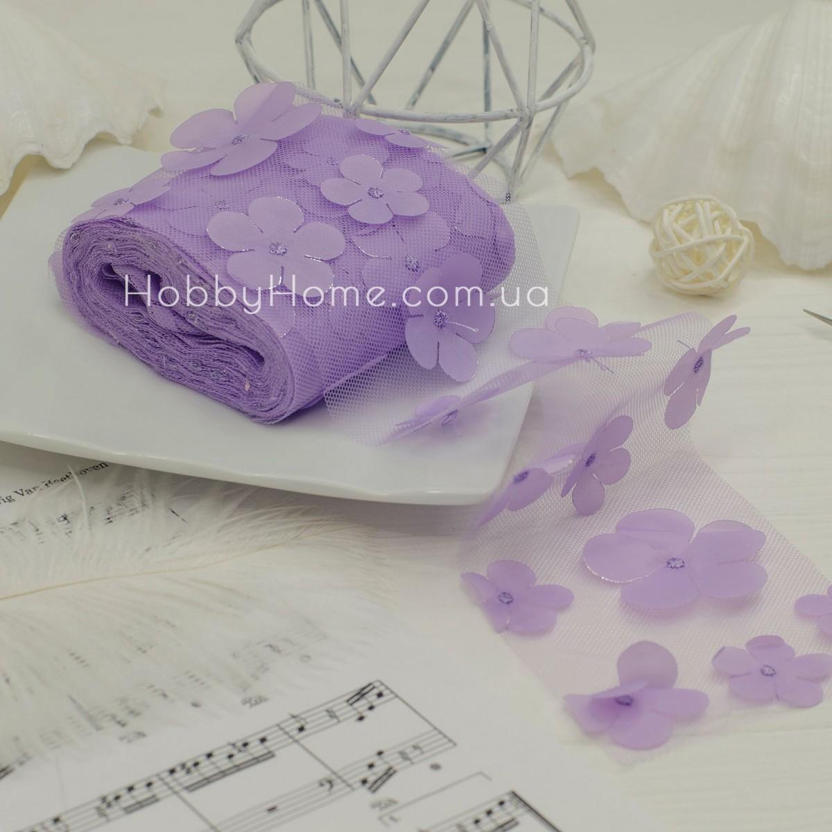 Фатин з об'ємними шифоновими квітами 50см , фіолетовий