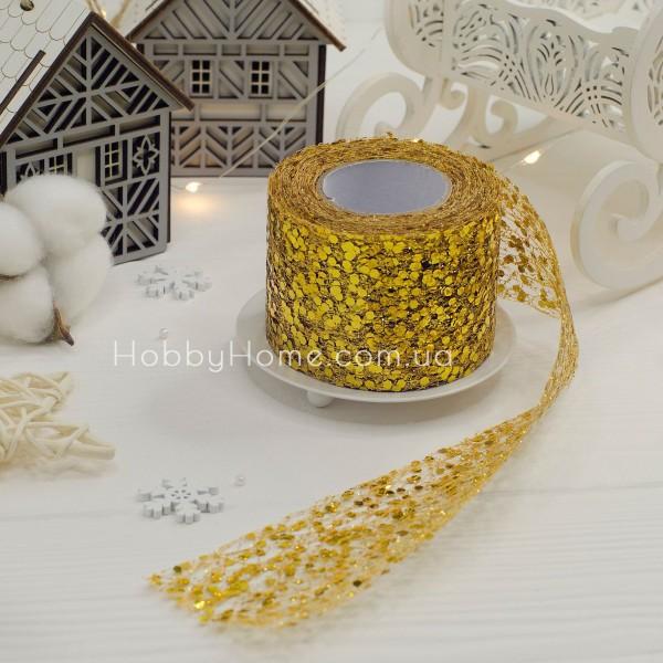 Фатин з крупним гліттером 5см , золото