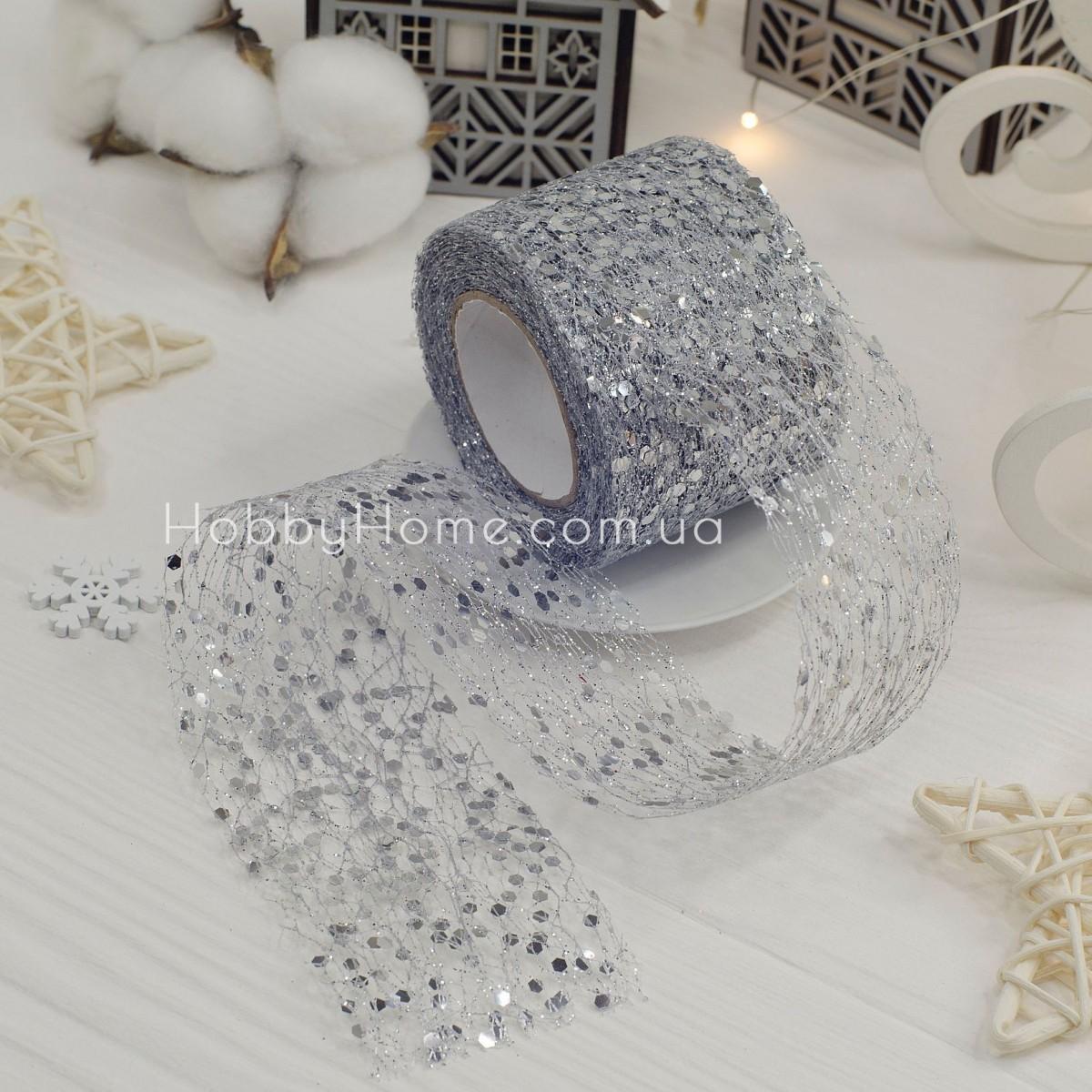 Фатин з крупним гліттером 5см , срібло