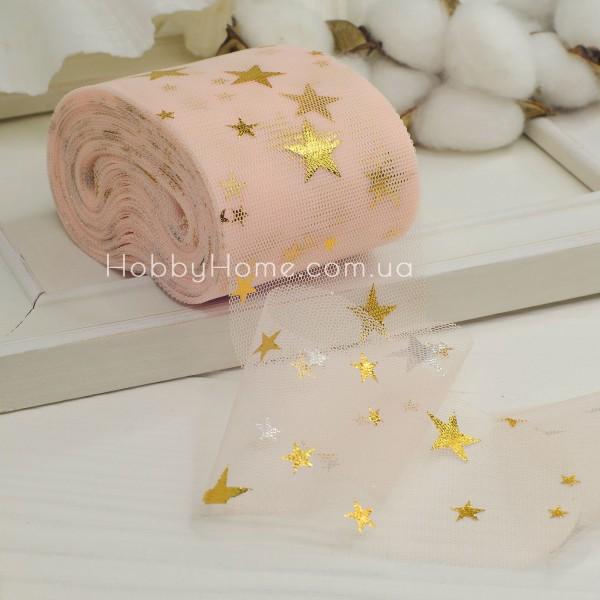 Фатин мягкий с золотыми звездами 6см , персиковый