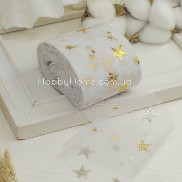Фатин мягкий с золотыми звездами 6см , белый