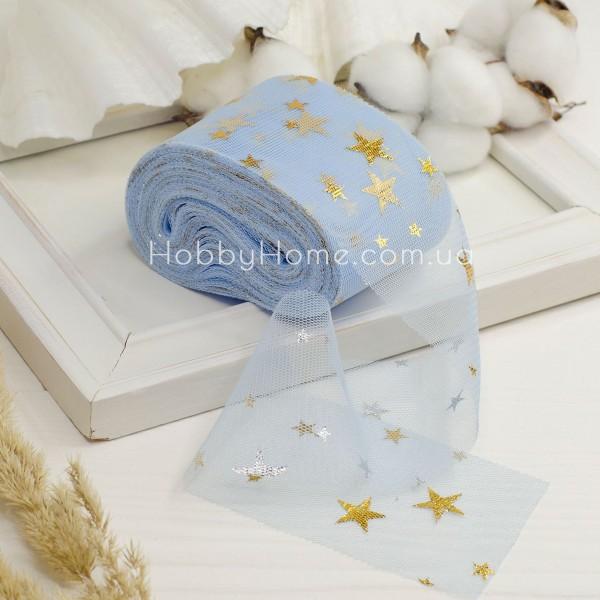 Фатин мягкий с золотыми звездами 6см , синий