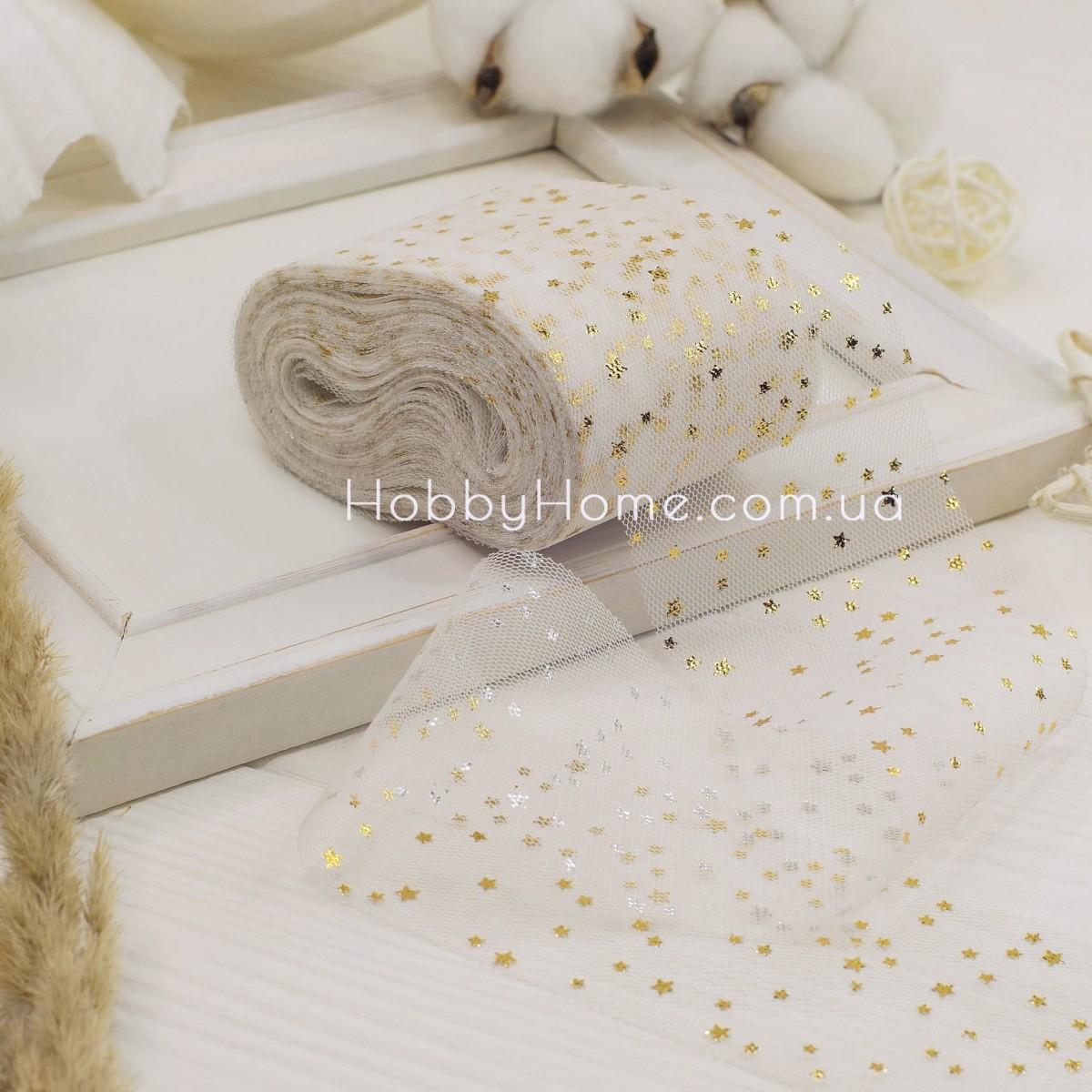Фатин м'який Дрібні зірки 6 см білий