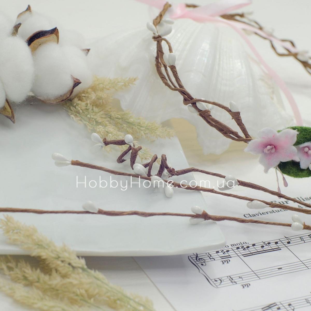 Гілка Верби з бруньками 65см , біла