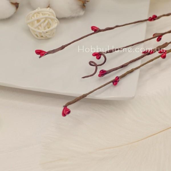 Гілка Верби з бруньками 65см , червона