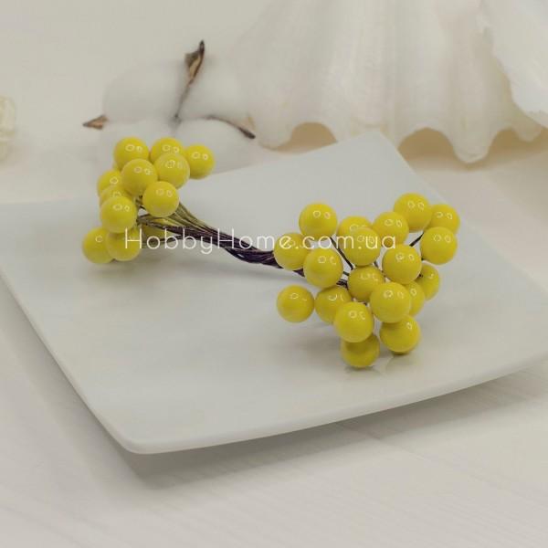 Ягоди в пучку 10мм подвійні 40шт , жовті