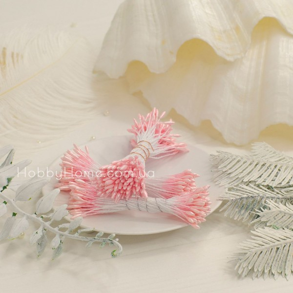 Тычинки глянец пучок 1мм длинные , нежно розовый