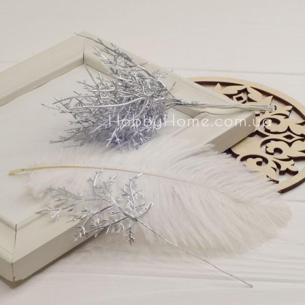 Ветка Туи декоративная , серебро