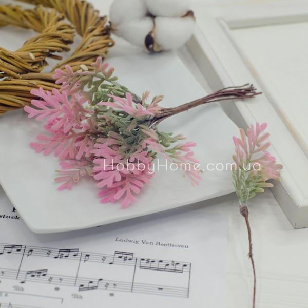 Гілка Папороті рожево-зелена 15см