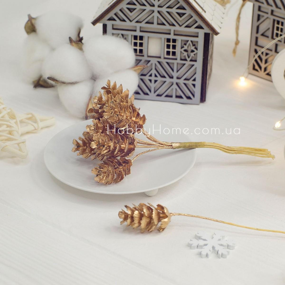 Шишки декоративні міні на гілці 2-2.5см золото
