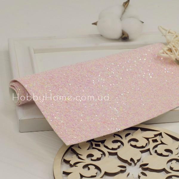 Шкірзам крупний гліттер Цукерка , рожевий з переливом