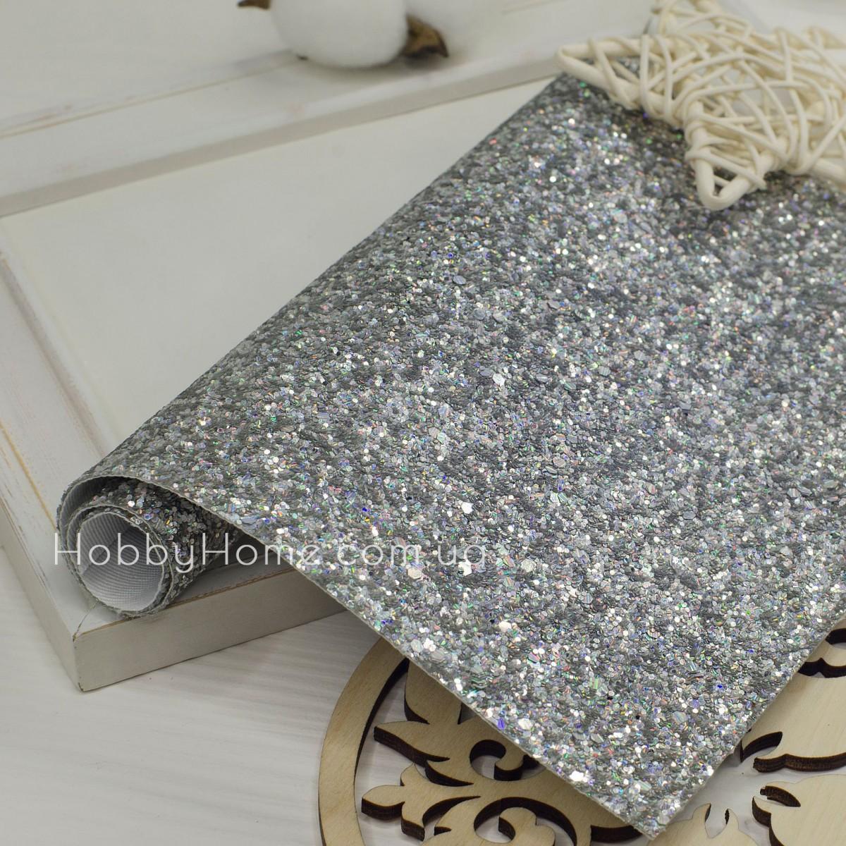 Шкірзам крупний гліттер , срібло з переливом