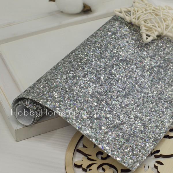 Кожзам крупный глиттер , серебро с переливом