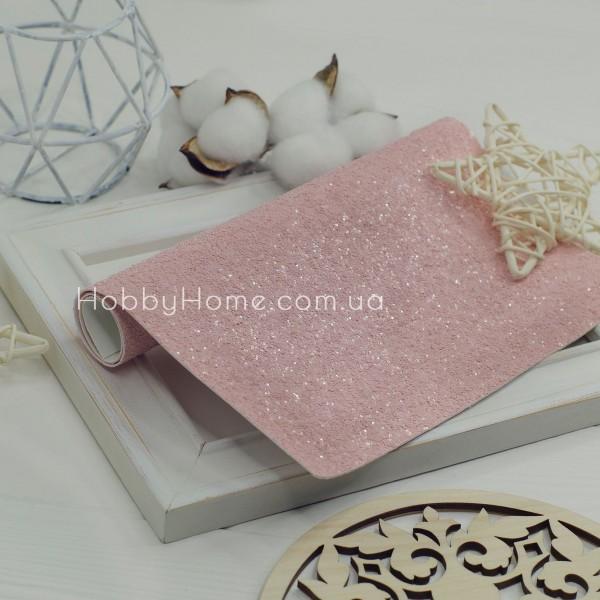 Шкірзам крупний гліттер матовий , рожевий
