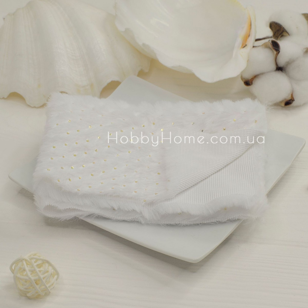 Хутро на тканинній основі золотий горох , білий