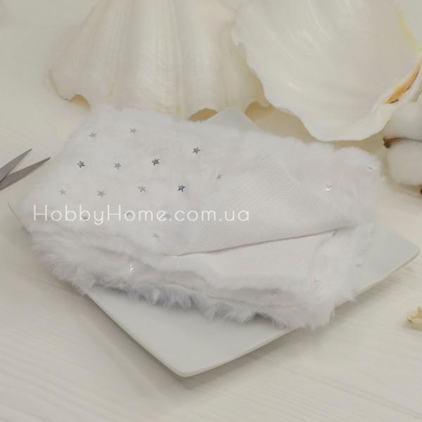 Мех на тканевой основе серебряная звезда , белый