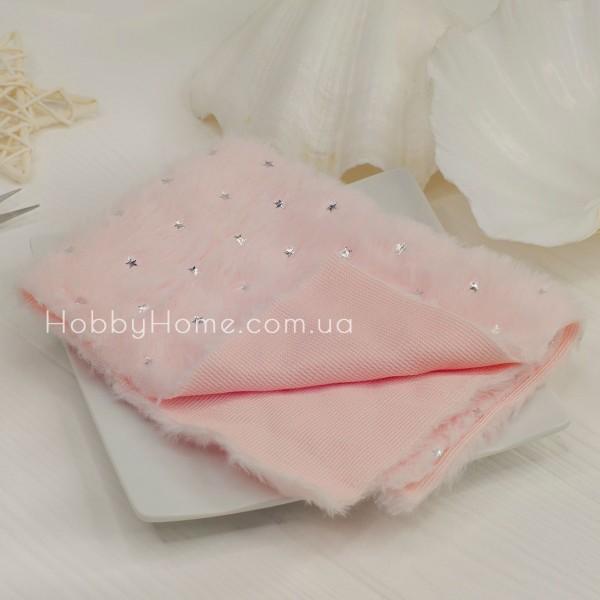 Мех на тканевой основе серебряная звезда , розовый