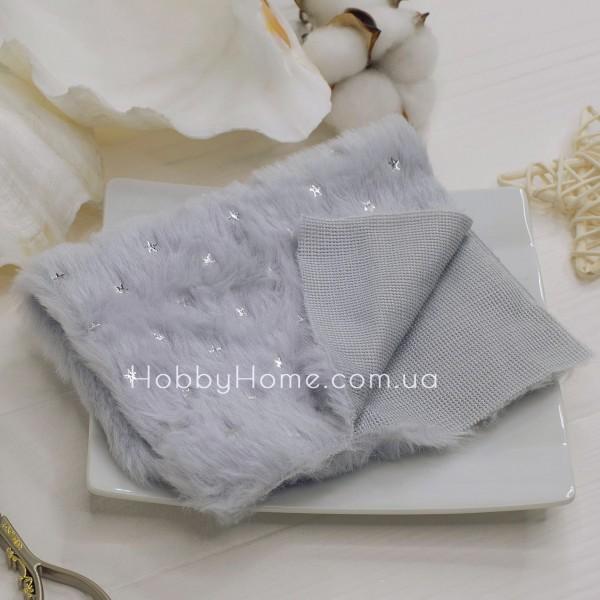Мех на тканевой основе серебряная звезда , серый