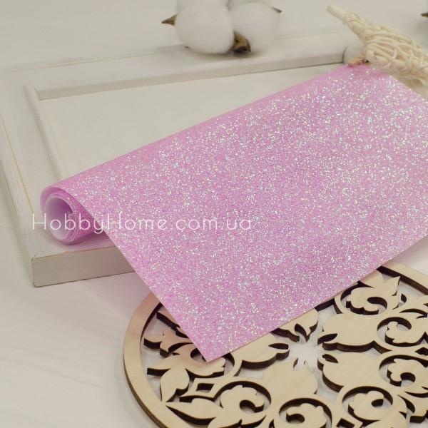Шкірзам дрібний гліттер , рожевий з переливом