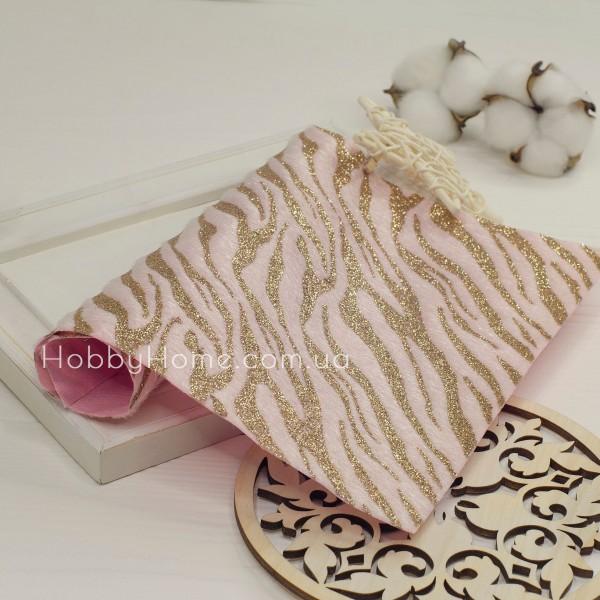 Мех на ткани с глиттером Зебра , розовый