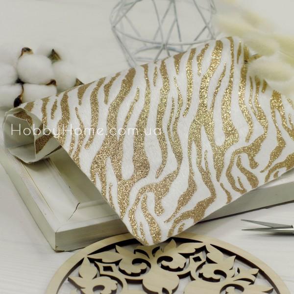 Хутро на тканині з гліттером Зебра , білий