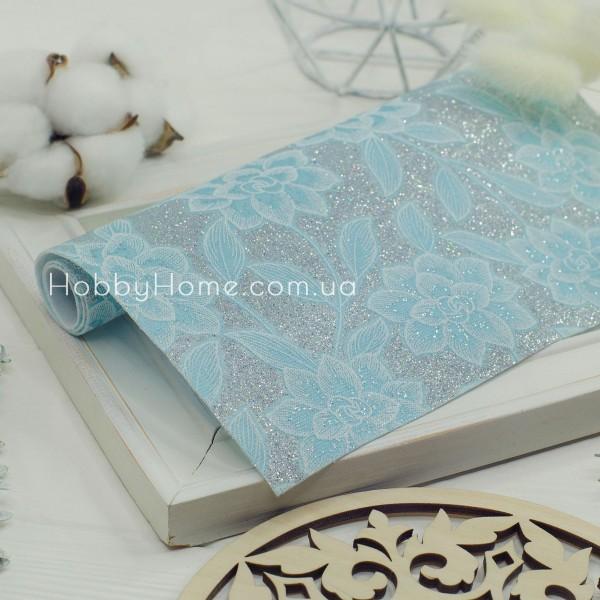 Кожзам ажурные Цветы мелкий глиттер , голубой