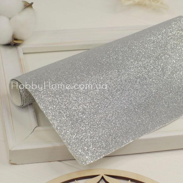 Шкірзам дрібний глиттер , срібло