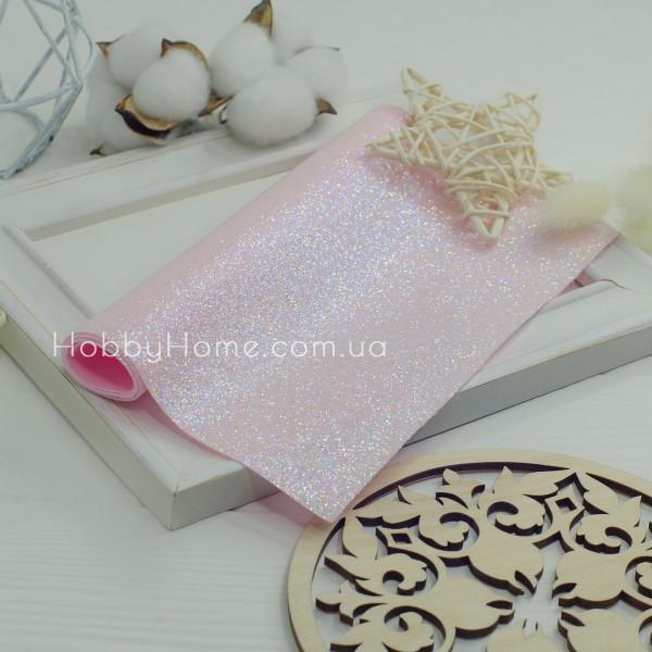 Шкірзам дрібний гліттер , ніжно рожевий з переливом