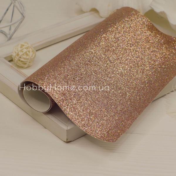 Шкірзам дрібний гліттер , рожеве золото з переливом