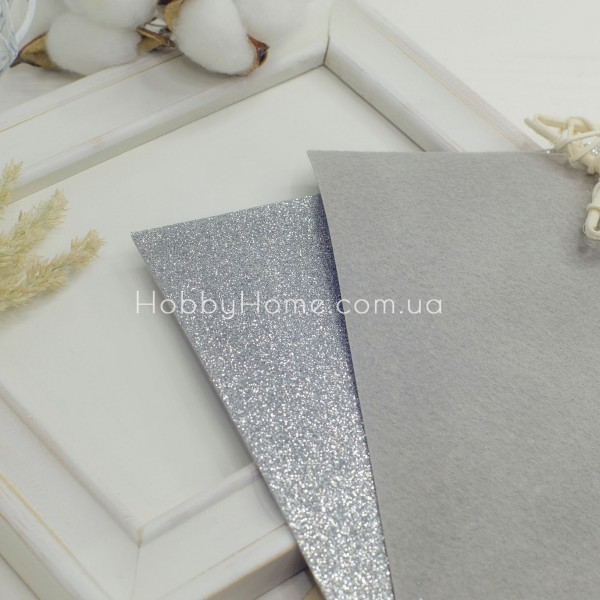Мелкий глиттер на жестком фетре , серебро